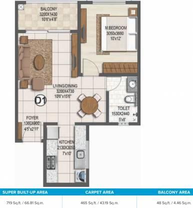 Brigade Buena Vista Phase 2 (1BHK+1T (719 sq ft) Apartment 719 sq ft)