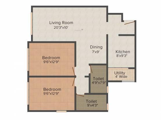 Sumit Sumit Garden Grove (2BHK+2T (807.29 sq ft) Apartment 807.29 sq ft)