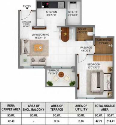 Shapoorji Pallonji Joyville Phase 2 (1BHK+1T (457.36 sq ft) Apartment 457.36 sq ft)