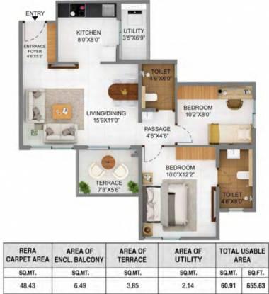 Shapoorji Pallonji Joyville Phase 2 (2BHK+2T (521.30 sq ft) Apartment 521.3 sq ft)