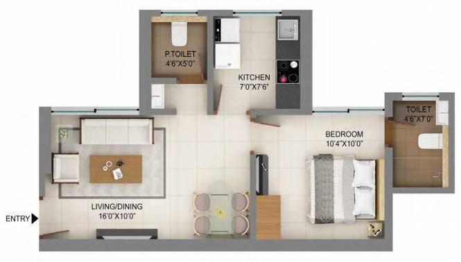 Shapoorji Pallonji Mumbai Dreams (1BHK+1T (402.81 sq ft) Apartment 402.81 sq ft)