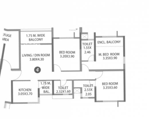 Paranjape Blue Ridge Project E Land T24 and T25 (3BHK+3T (889.74 sq ft) Apartment 889.74 sq ft)