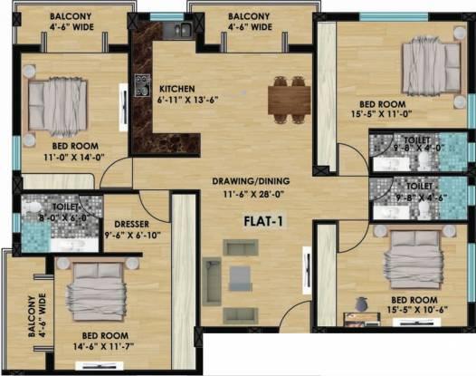 Evos Olive Enclave (4BHK+3T (1,996 sq ft) Apartment 1996 sq ft)