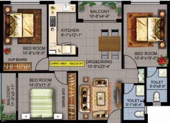 Evos Paradise (3BHK+2T (1,168.50 sq ft) Apartment 1168.5 sq ft)