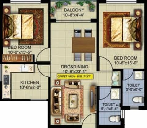 Evos Paradise (2BHK+2T (902.39 sq ft) Apartment 902.39 sq ft)