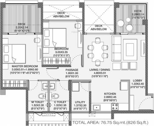 Godrej Elements (2BHK+2T (580.39 sq ft) Apartment 580.39 sq ft)