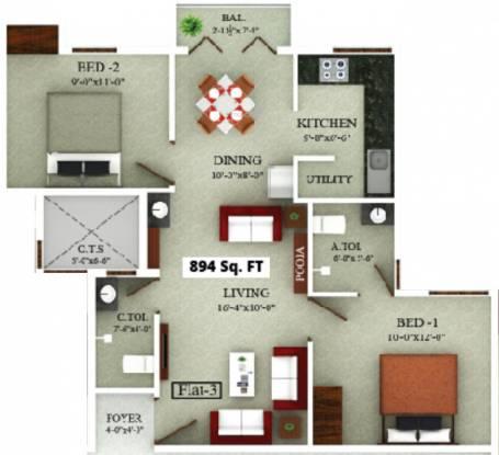 Saradeuz Ecstasy (2BHK+2T (894 sq ft) Apartment 894 sq ft)
