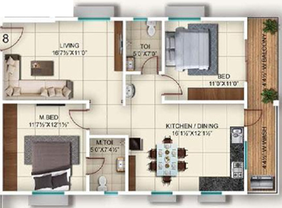 Vazhraa Prathik (2BHK+2T (1,200 sq ft) Apartment 1200 sq ft)