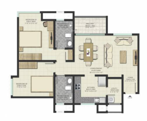 Sobha Lake Garden (2BHK+2T (1,314.12 sq ft) Apartment 1314.12 sq ft)
