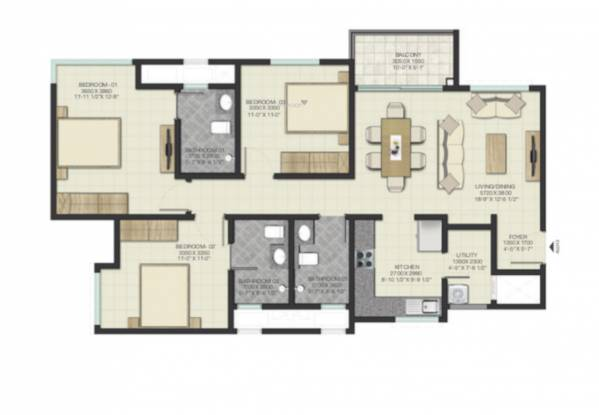 Sobha Lake Garden (3BHK+3T (1,629.76 sq ft) Apartment 1629.76 sq ft)