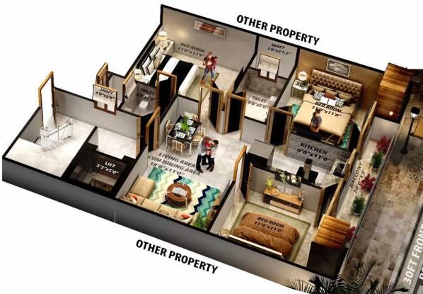 SGB Homes (3BHK+3T (1,100 sq ft) Apartment 1100 sq ft)