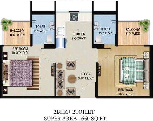 Migsun Vilaasa (2BHK+2T (660 sq ft) Apartment 660 sq ft)