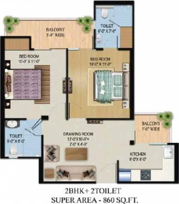 Migsun Vilaasa (2BHK+2T (860 sq ft) Apartment 860 sq ft)