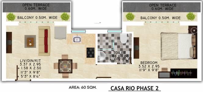 Rio Luxury Homes Casa Rio (1BHK+1T (645.83 sq ft) Apartment 645.83 sq ft)