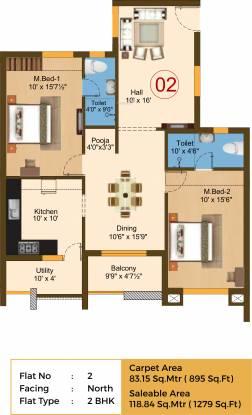 Sree Daksha Yashus (2BHK+2T (1,279 sq ft) Apartment 1279 sq ft)