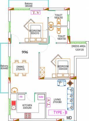 Dream Ibiza 2 (2BHK+2T (996 sq ft) Apartment 996 sq ft)