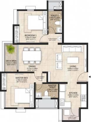Mahindra Lakewoods (2BHK+2T (1,079 sq ft) Apartment 1079 sq ft)