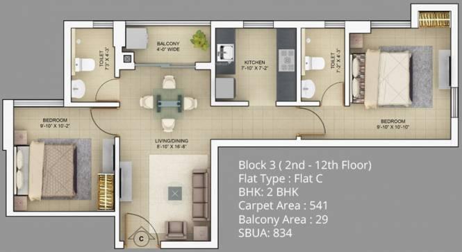 Primarc Akriti (2BHK+2T (834 sq ft) Apartment 834 sq ft)