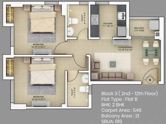 Primarc Akriti (2BHK+2T (819 sq ft) Apartment 819 sq ft)