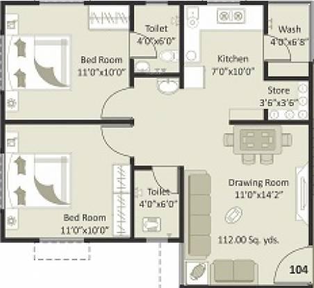Soham Sanidhya (2BHK+2T (802.77 sq ft) Apartment 802.77 sq ft)