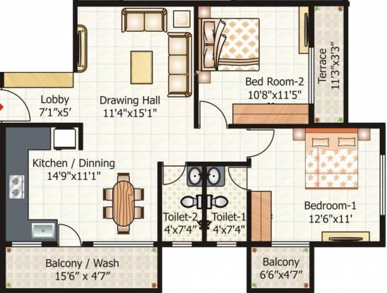 Pyramid City 6 (2BHK+2T (1,076.239 sq ft) Apartment 1076.239 sq ft)
