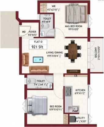 Chozha Flair (2BHK+2T (921 sq ft) Apartment 921 sq ft)