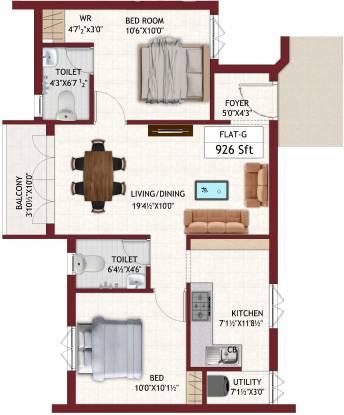 Chozha Flair (2BHK+2T (926 sq ft) Apartment 926 sq ft)