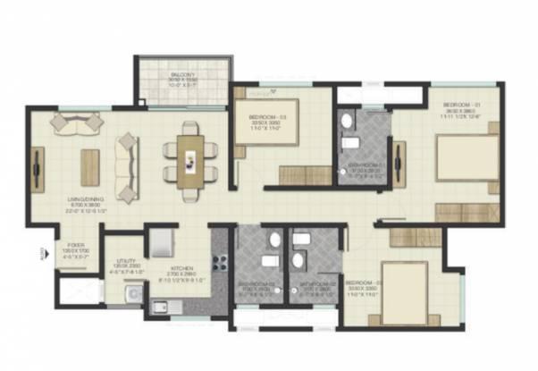 Sobha Lake Garden (3BHK+3T (1,679.76 sq ft) Apartment 1679.76 sq ft)