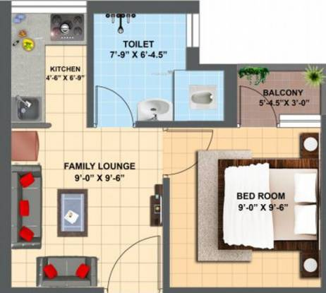 One Anand Lok (1BHK+1T (370 sq ft) Apartment 370 sq ft)
