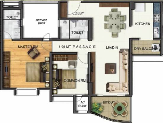 Vascon Forest County Ph 3 (2BHK+2T (855.84 sq ft) Apartment 855.84 sq ft)