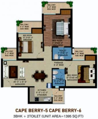 Supertech Capeluxe (3BHK+2T (1,395 sq ft) Apartment 1395 sq ft)