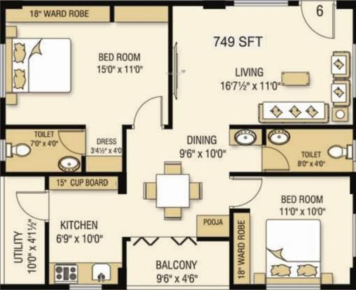 Kavya Vijaya Valencia (2BHK+2T (749.28 sq ft) + Pooja Room Apartment 749.28 sq ft)