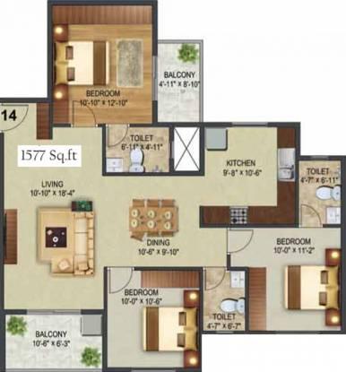 Sowparnika The Landmark (3BHK+3T (1,577 sq ft) Apartment 1577 sq ft)