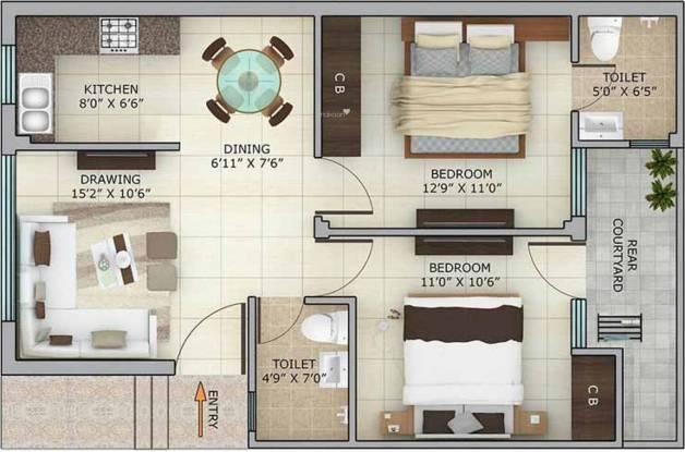 Estonia Homez (2BHK+2T (900 sq ft) Apartment 900 sq ft)