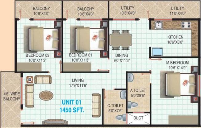 Mamtha Elite (3BHK+2T (1,450 sq ft) Apartment 1450 sq ft)