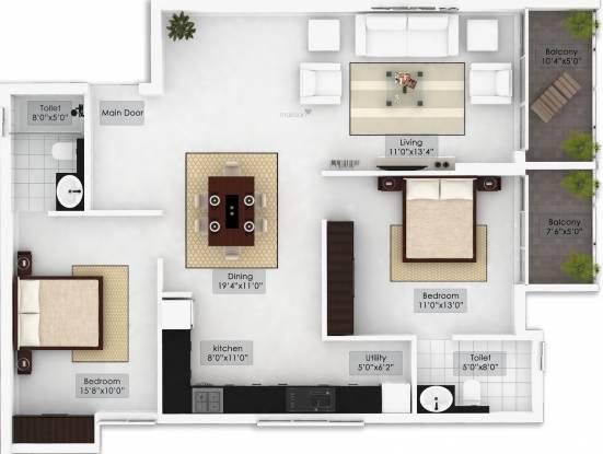 Northernsky Palmstreak (2BHK+2T (1,330 sq ft) Apartment 1330 sq ft)
