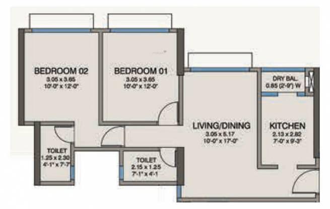 Kanakia Codename Future A (2BHK+2T (666 sq ft) Apartment 666 sq ft)