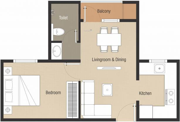 Nebula Chennai Aavas (1BHK+1T (566 sq ft) Apartment 566 sq ft)