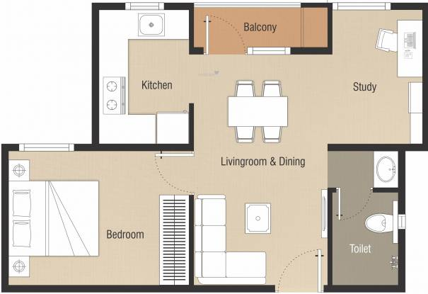 Nebula Chennai Aavas (1BHK+1T (680 sq ft) + Study Room Apartment 680 sq ft)