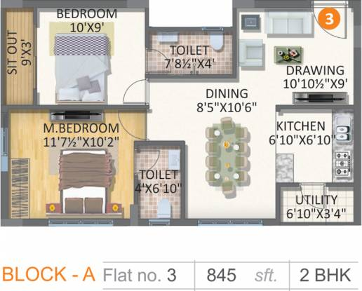 Gayatri Vaishnaoi Eternis (2BHK+2T (845 sq ft) Apartment 845 sq ft)