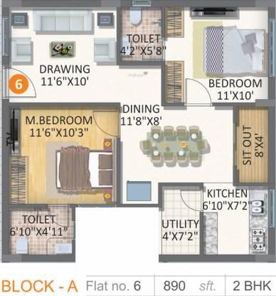 Gayatri Vaishnaoi Eternis (2BHK+2T (890 sq ft) Apartment 890 sq ft)