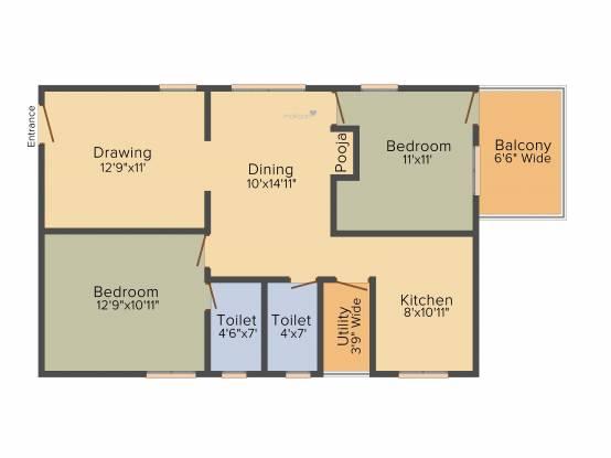 Sukhii 9 (2BHK+2T (1,160 sq ft) Apartment 1160 sq ft)