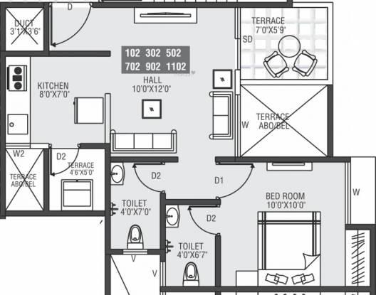 Moze Skyways Esfera 2 (1BHK+1T (454.24 sq ft) Apartment 454.24 sq ft)