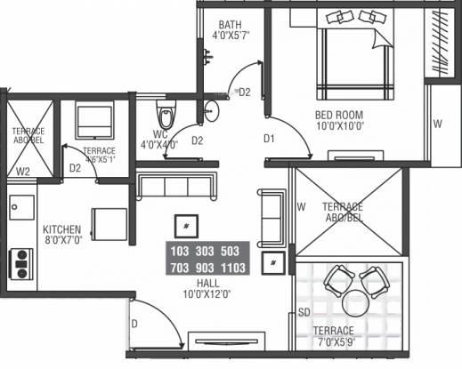 Moze Skyways Esfera 2 (1BHK+1T (422.05 sq ft) Apartment 422.05 sq ft)