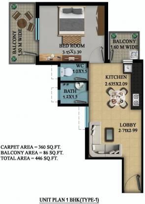 OSB Golf Heights (1BHK+1T (360 sq ft) Apartment 360 sq ft)
