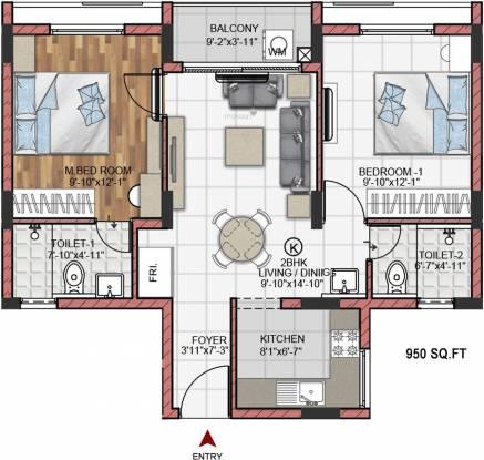Fomra Hues (2BHK+2T (950 sq ft) Apartment 950 sq ft)