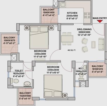 Eldeco City Dreams (2BHK+2T (462.85 sq ft) Apartment 462.85 sq ft)