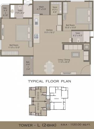 Pancham Elite (2BHK+2T (1,120 sq ft) Apartment 1120 sq ft)