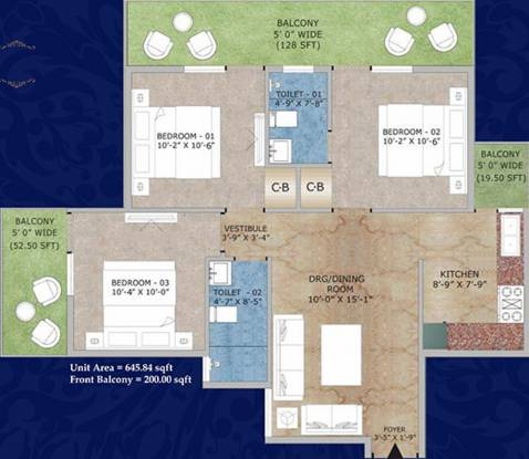 Adore Happy Homes Exclusive (3BHK+3T (645.84 sq ft) Apartment 645.84 sq ft)