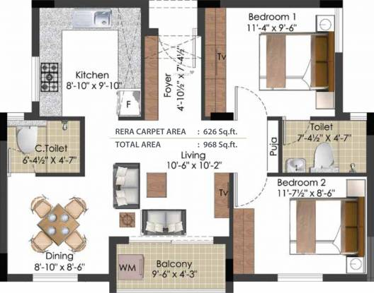 TVS Green Enclave (2BHK+2T (968 sq ft) Apartment 968 sq ft)